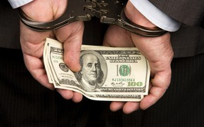 Picture close-up, the situation, hands, costume, male, dollars, handcuffs, the bucks, bills