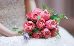 Picture flowers, roses, bouquet, hands, the bride