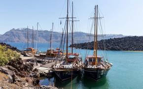 Picture sea, the sky, the sun, rocks, coast, yachts, Santorini, Greece