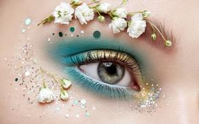 Picture girl, flowers, face, eyes, makeup, sequins, Oleg Gekman