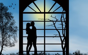 Picture love, romance, kiss, the evening, pair, relationship, silhouettes, date