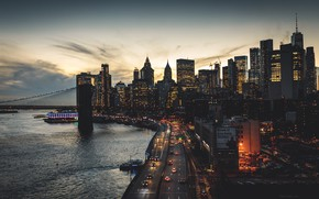 Picture road, machine, the city, street, building, skyscrapers, the evening
