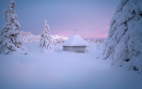 Picture winter, snow, trees, hut, ate, the snow, hut, Andrey Bazanov