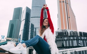 Picture the city, pose, smile, background, model, building, portrait, home, jeans, makeup, hairstyle, brown hair, blouse, …