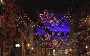 Picture lights, France, Christmas, garland, Strasbourg