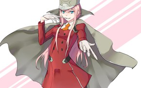 Picture girl, gloves, coat, 002, Darling In The Frankxx, Cute in France, Zero Two