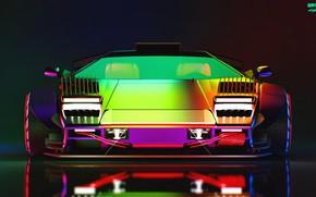 Picture Auto, Lamborghini, Neon, Machine, Lights, Car, Art, Neon, Countach, Rendering, Concept Art, Lamborghini Countach, The ...