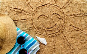 Picture sand, sea, beach, summer, the sun, stay, towel, hat, glasses, shell, summer, beach, sea, sand, …