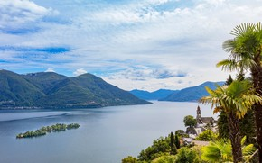 Picture mountains, lake, palm trees, Switzerland, Locarno, Brissago