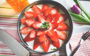 Picture strawberry, cake, cake, cream, dessert, cakes, sweet, strawberry