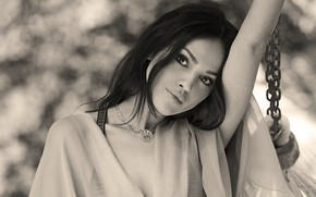 Picture look, girl, face, photo, makeup, actress, black and white, chain, Eiza Gonzalez