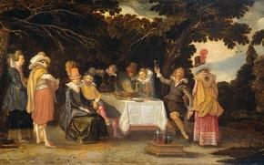 Picture oil, picture, Picnic, 1615, Esaias van de Velde, Esaias van de Velde