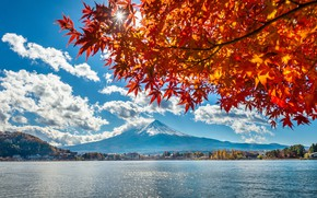 Picture autumn, leaves, lake, Japan, Japan, mount Fuji, landscape, autumn, mountain, lake, leaves, Fuji