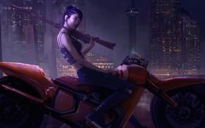 Picture Girl, Night, The city, Style, Asian, Girl, Bike, Motorcycle, City, The gun, Art, Art, Asian, …