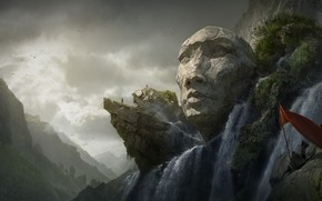 Picture mountains, face, waterfall, hex statue, Old Valley