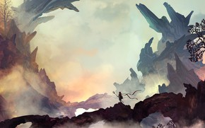 Picture Figure, Rocks, Silhouette, Landscape, Art, Landscapes, Digital Art, TacoSauceNinja, by TacoSauceNinja, The power of silence