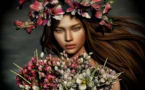 Picture girl, flowers, face, rendering