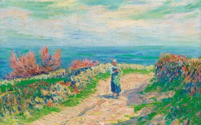Picture landscape, picture, Henri Sea, Henry Moret, The road by the Sea