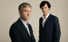 Picture art, photoshoot, Martin Freeman, Benedict Cumberbatch, Sherlock bbc, Sherlock BBC, Sherlock Holmes, beige background, John …