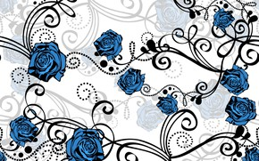 Picture white, flowers, background, blue, pattern, roses, vector