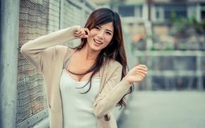 Picture girl, smile, Asian, bokeh