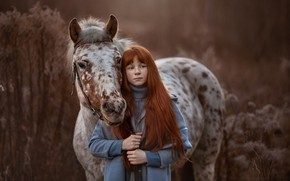 Picture horse, girl, freckles, Arma Gray
