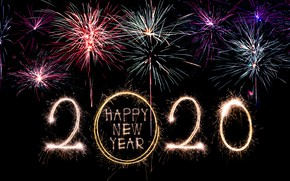 Picture night, lights, salute, colorful, New Year, happy, night, New Year, fireworks, 2020
