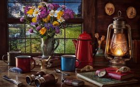 Picture flowers, style, books, bouquet, window, lantern, binoculars, mugs, still life, compass, coffee pot