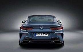 Picture background, coupe, BMW, Coupe, 2018, feed, gray-blue, 8-Series, pale blue, M850i xDrive, Eight, G15