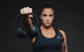 Picture woman, headphones, hand
