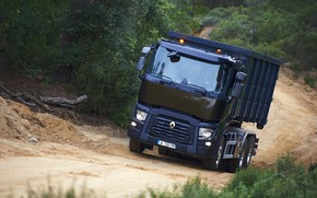 Picture road, vegetation, truck, Renault, body, triaxial, Renault Trucks, C-series
