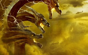 Picture Clouds, Battle, Helicopters, Grin, King Gidora, Godzilla: King of the Monsters, Godzilla 2: king of …