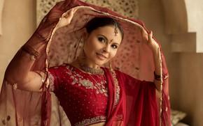 Picture look, girl, decoration, face, pose, saree, Damp Zergut