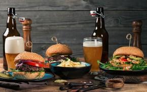 Wallpaper foam, beer, glasses, bottle, burgers