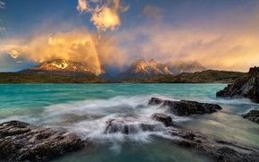 Picture mountains, rainbow, pond, Andes