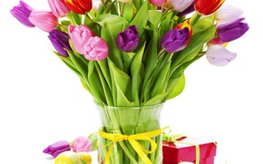 Picture holiday, spring, Easter, gifts, tulips, vase, composition, eggs, Natalia Klenova
