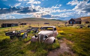 Picture clouds, CA, USA, old car
