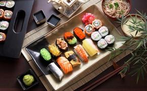 Picture fish, soup, sauce, sushi, cuts, sashimi, lapse
