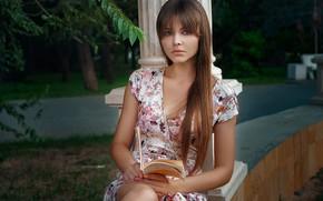 Picture look, girl, portrait, book, long hair, Anastasia Ljubytinsky, Alexander Drobkov-Light