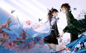 Picture girl, flowers, romance, pair, guy, two, The Blade Cleaves Demons, Kanao Tsuyuri, Tanjirou Kamado