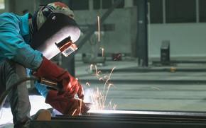 Picture gloves, sparks, welder, metallurgical, welding mask