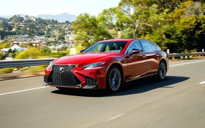 Picture road, red, speed, Lexus, Lexus, sport, red, side, LS 500, Lexus LS 500 F Sport