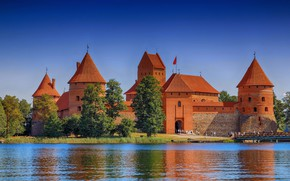 Picture trees, bridge, lake, castle, Lithuania, Trakai castle, Trakai, Lake Galve