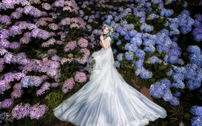 Picture summer, girl, flowers, pose, white, hands, garden, Asian, sitting, the bride, flowering, green hair, the …