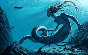 Picture clear water, boat, skull, Medusa, sake, under water, underwater, boat, a mythical creature, fantasy art, …