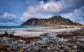 Picture sea, clouds, stones, coast, mountain, Norway, Lofoten