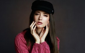 Picture look, girl, face, background, portrait, hands, cap, sweater, Disha Shemetova, Sergei Martynov, DISHA Shemetova