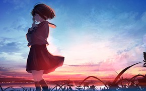 Picture water, sunset, schoolgirl