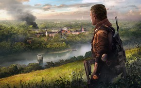 Picture lake, fire, the building, art, agent, Ubisoft, Game, Tom Clancy's The Division 2, The Division …