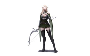 Picture Girl, Art, Style, Fiction, Blonde, Elf, Minimalism, Archer, Armor, Bow